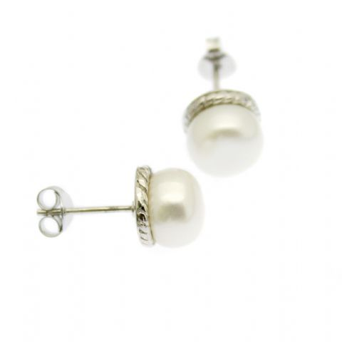 Large 8mm Pearl Stud Earrings Embellished Sterling Silver Setting